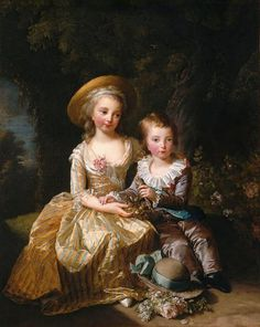 Princess Marie Therese Charlotte of France, Madame Royale, and her younger brother Louis Joseph Xavier of France, Dauphin of France who died at age 8 Portrait painted in 1784 By Louise Elisabeth Vigée-Lebrun. French History, Art History, Marie Antoinette Children, Versailles, Luís Xvi, Ludwig Xiv, French Royalty, Kunst Poster, 18th Century Fashion