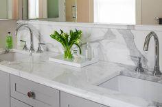 Master bath vanity in Calacatta marble with Dupont edges. Vanity Countertop, Countertops, Master Bath Vanity, Calacatta Marble, French Country Cottage, Bath Vanities, Backsplash, Kitchen Remodel, Sink