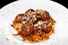Tomi's Chef's Special - this is Venison Meatballs served with Fettucine and a plum sauce. Venison Meatballs, Plum Sauce, Pasta Dishes, Spaghetti, Restaurant, Ethnic Recipes, Food, Diner Restaurant, Essen
