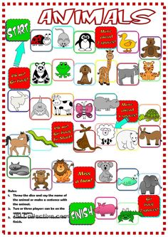Animals - boardgame worksheet - Free ESL printable worksheets made by teachers English Games For Kids, English Lessons For Kids, Esl Lessons, Kids English, English Activities, Learn English, English Language Learners, English Vocabulary, Ingles Kids