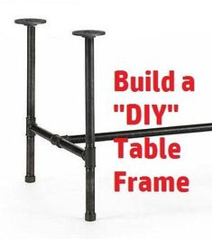 Industrial Black Iron Pipe Table Base/Table Frame/ Table Legs - Diameter Pipe X feet long), You choose Height & Width, Frame Kit by PipeLineDesignStudio on Etsy Pipe Leg Table, Diy Table Legs, Metal Table Legs, Iron Table, A Table, Table Bases, Patio Table, Casa Patio, Diy Pipe