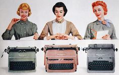 I'll take the pink one, please! :) #vintage #office #secretary #typewriters #1950s