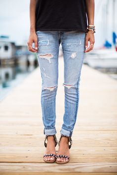 perfectly distressed jeans.