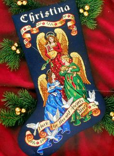 Dimensions Gold HERALD ANGELS Christmas stocking