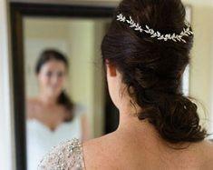 Wedding tiara Bridal headpiece gold leaf headpiece by Ayajewellery