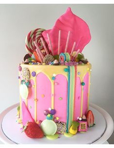 Salted caramel popcorn, Charlie and the Chocolate Factory and pastel drip wedding cakes galore! Sweet Cakes, Cute Cakes, Yummy Cakes, Candy Cakes, Cupcake Cakes, Kid Cakes, Beautiful Cakes, Amazing Cakes, Drippy Cakes