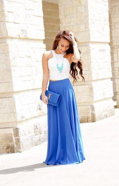 Morning Lavender Royal Blue Maxi Skirt - Sunshine & Stilettos Blog (Instagram: @katlynmaupin)