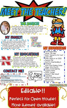 Meet the Teacher Newsletter Template EDITABLE- Superhero Meet the Teacher Newsletter- EDITABLE - Superhero theme! Perfect for back to school, open house or meet the teacher night! Editable and great for all subject areas and grade levels! Superhero Classroom Theme, Classroom Themes, Seasonal Classrooms, Classroom Organization, Superhero Kindergarten, Superhero Teacher, Superhero Ideas, Classroom Newsletter Template, Teacher Newsletter