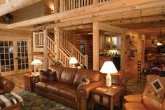 log home living rooms | Moose Log Homes - Home