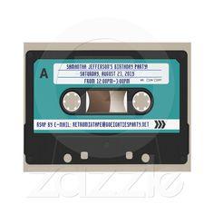 Retro 80s Cassette Mixtape Personalized Custom Invite from Zazzle.com