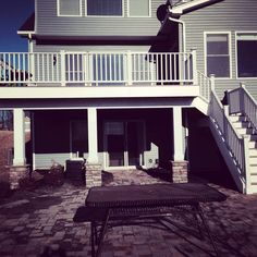 2 story deck with patio stone | story deck with stone pillars: Deck Ideas, Outdoor Spaces