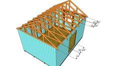 This step by step diy article is about how to build a roof for a shed. Building a roof for a large shed is easy, if you use proper plans and techniques. Building A Shed Roof, Building Front, Building Ideas, Shed Design Plans, Shed Plans, Garage Plans, Cabin Plans, House Plans, Pole Barn Plans