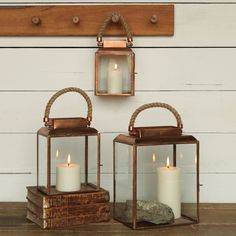 Rope Handled Copper Lantern - Medium