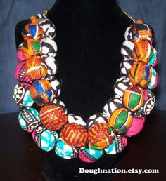 African Inspired Fabric Beaded Statement Necklace by doughnation, $55.00