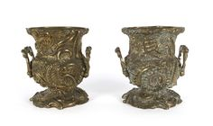 A pair of French Rococo revival mantel urns, cast bronze, 19th century, 27cm high / MAD on Collections - Browse and find over 10,000 categories of collectables from around the world - antiques, stamps, coins, memorabilia, art, bottles, jewellery, furniture, medals, toys and more at madoncollections.com. Free to view - Free to Register - Visit today. #Bronze #DecorativeArts #MADonCollections #MADonC