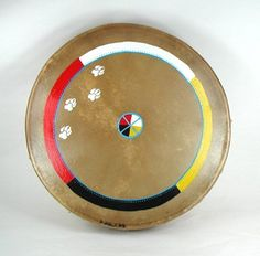 Authentic Native American White Wolf Spirit Four Directions Medicine Wheel Hand Drum