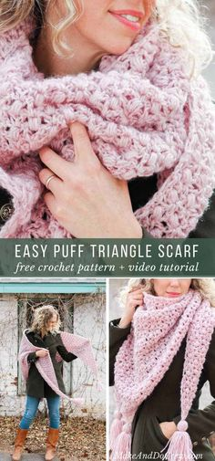 This crochet shawl video tutorial will teach you how to make a sophisticated-looking (but very simple!) worsted weight lace puff stitch wrap. Free pattern! via @makeanddocrew
