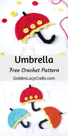 Crochet Umbrella Applique, Free Crochet Pattern - GoldenLucycrafts - - This crochet Umbrella applique will look great on children's clothing, purses, pillows or blankets. You can also embellish your crochet umbrella applique with cute buttons. Crochet Teddy, Cute Crochet, Crochet For Kids, Crochet Crafts, Easy Crochet, Crochet Projects, Crochet Hooks, Crochet Flamingo, Crochet Elephant
