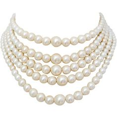 Preowned 1960s Christian Dior Pearl Five Strand Choker Necklace