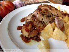 Conejo asado al horno con majada Salsa, Fish, Chicken, Spanish, Rabbit Recipes, Finger Foods, Food Drink, Beverages, Stew