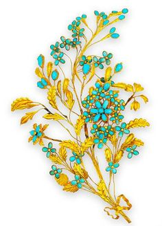 Antique jewelry from the Blanche Thebom collection: 18 karat gold and turquoise hair ornament, designed as a delicate spray of turquoise flowers and gold stems, attaches to the hair by a metal comb, circa 1860. © 2002-2010 Bonhams 1793 Ltd.