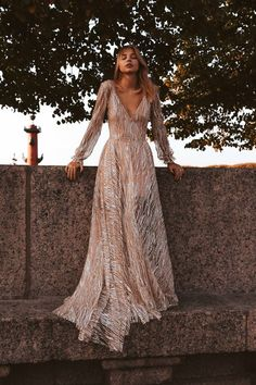 Galaxy by Boom Blush, Sparkly Lace Wedding Dress with Sleeves. Unique Bohemian Wedding Gown 2019 for Vintage, Boho or Beach Wedding Exclusive Sparkly Wedding Dress. Unique Bohemian Wedding Gown by Boom Blush. Bohemian Wedding Dresses, Bridal Dresses, Wedding Gowns, Ivory Wedding, Wedding Beach, Gothic Wedding, Bohemian Formal Dress, Renaissance Wedding, Bohemian Weddings