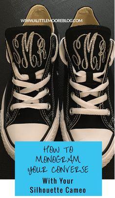 4a22ea2b976 DIY Shoe Monogram using Glitter Heat Transfer Vinyl (HTV) Monogram Converse