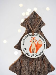 Baby's first Christmas ornament - Fox Christmas decoration