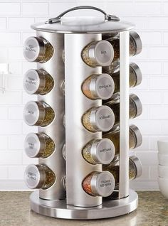 Kamenstein 20 Jar Stainless Steel Revolving Spice Tower - Filled with 20 Premium Spices Plus Free Spice Refills for 5 Years Tidy Kitchen, Kitchen Gadgets, Kitchen Items, Kitchen Utensils, Stainless Steel Spice Rack, Revolving Spice Rack, Rotating Spice Rack, Herb Rack, Slate Appliances