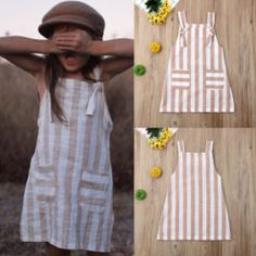 Pudcoco Summer Toddler Baby Girl Clothes Sleeveless Striped Strap Dress Casual Pockets Summer Sundress – zoomcart Baby Girl Birthday Dress, Baby Dress, Dresses Kids Girl, Kids Outfits, Baby Girl Fashion, Kids Fashion, Toddler Dress Patterns, Girl Sleeves, Stripes Fashion