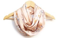 Scarf Peach Silk Satin Lightweight Soft with Flowers by HeraScarf, $14.90