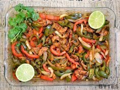 Oven Fajitas.... SEASONING 1 Tbsp chili powder, ½ Tbsp paprika, ½ tsp onion powder, ¼ tsp garlic powder, ¼ tsp cumin, ⅛ tsp cayenne pepper, 1 tsp sugar, ½ tsp salt, ½ Tbsp corn starch   FAJITAS 2 small (or 1 lg.) onion  2 medium green bell peppers  1 medium red bell pepper 1 lb. chicken breast 2 Tbsp vegetable oil 1 medium lime  8 (6-inch) tortillas ½ cup sour cream  ¼ bunch cilantro