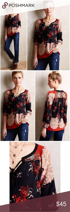 "Anthropologie Blossomed Silk Peasant Top Blossomed silk Peasant Top by Meadow Rue Anthropologie ❤️Silk. Split neck with tasseled tie detail. Pullover styling. Hand wash. Black, red, tan, lavender. Runs big! 26"" Length Bust 18"" approx. Excellent condition Anthropologie Tops Blouses"