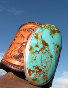 Mas Grande Turquoise Hand-tooled Leather Cuff