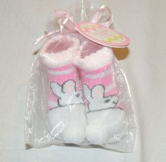 Easter NEW Unisex Baby Bunny Mustache Socks Green Size 0-12 Months Booties