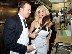 """Jenny McCarthy and hubby Donnie Wahlberg invaded the kitchen at Strip House in NYC, which just unveiled its """"Strip Tease"""" late-night menu, on April Donnie And Jenny, Pauly D, Fame Game, Angela Bassett, Jenny Mccarthy, Donnie Wahlberg, April 13, Sarah Jessica Parker, Vanessa Hudgens"""