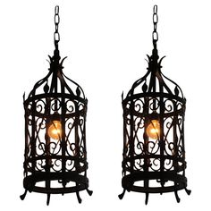 Pair Of Wrought Iron Lantern Light Fixtures FixtureAntique LightingModern ChandelierChandeliersSpanish StylePendant