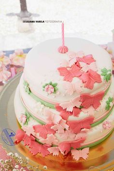Lovely cake at a butterfly birthday party! See more party planning ideas at CatchMyParty.com!