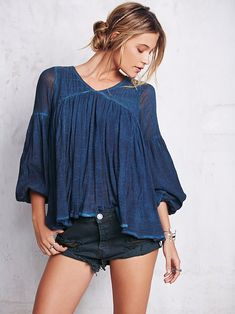 Free People Washed Gauzy Peasant Top at Free People Clothing Boutique