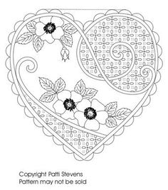 Ideas Embroidery Heart Pattern Inspiration For 2019 Embroidery Designs, Hand Embroidery Patterns, Applique Patterns, Heart Patterns, Machine Embroidery, Embroidery Hearts, Paper Embroidery, Cross Stitch Embroidery, Adult Coloring Pages