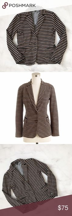 J. Crew Maritime Blazer in Stripe Classic striped blazer from J. Crew. Comfy ponte knit fabric, while still retaining structure. Black and beige stripes. Size XXS. Excellent pre-owned condition. No damage, no excessive signs of wear. -------- True to size. Cotton/spandex. Tailored for a fitted look. Bracelet sleeves. J. Crew Jackets & Coats Blazers
