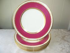 Mintons, Tiffany & Co. 6 dinner plates bone china gold embossed & pink banded