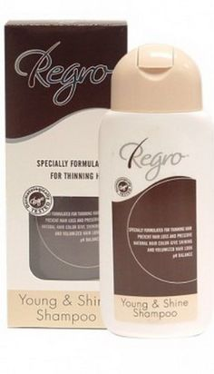 Regro Young & Shine Shampoo Specially Formulated for Thinning Hair 200ml by Regro. $34.50. Young & Shine Shampoo Specially Formulated for Thinning Hair  Shampoo prevent hair loss & black shiny hair  Apply : Wash your hair every day. Good for the people. And people with hair loss problems easily.  Ingredients Regro P Swertia Japonica Henna Shou Wu Rosemary Extract Ultra mild, Non-irritating Cleansing Agent