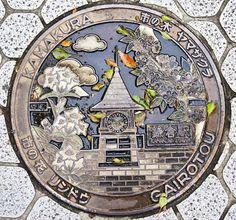 Artistic manhole cover from Kamakura, Japan