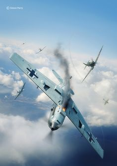 Commisioned illustration for Battle of Britain Combat Archive Vol. 2 by Simon Parry. 3D models by Marek Ryś (Spitfire) and Wojciech Kliment Niewęgłowski. Scene, textures and illustration by Piotr Forkasiewicz.