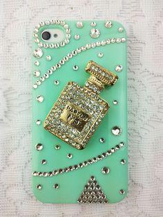 Turquoise,Rhinestone iphone 4s case