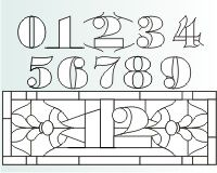 number 1 house numbers | ... numbers victorian transom pattern for stained glass with the numbers 1