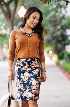 cute & little   petite fashion blog   gap bronze ochre cardigan, j.crew antique floral skirt, flower statement necklace   spring outfit by kileencheng, via Flickr