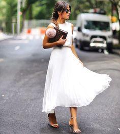 Chiffon Top + Chiffon Pleated Midi Skirt