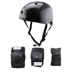 Children& adult body protector and black bicycle helmet or balance wheel helmet roller skating gear with elbow /knee/wrist pads